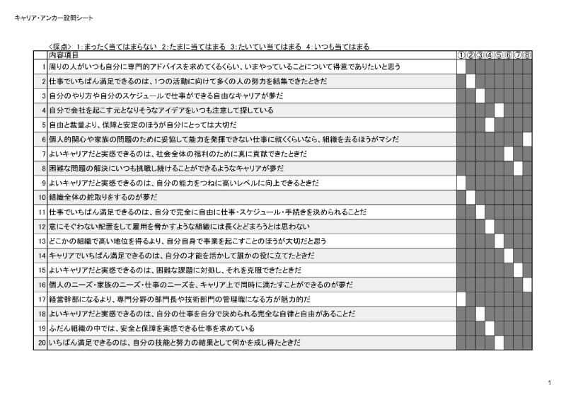 キャリア・アンカー設問シート